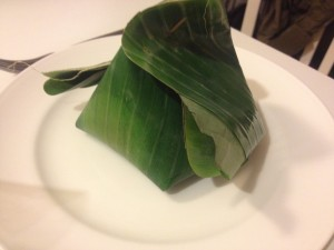 Pad Thai takeout, wrapped up in a banana leaf