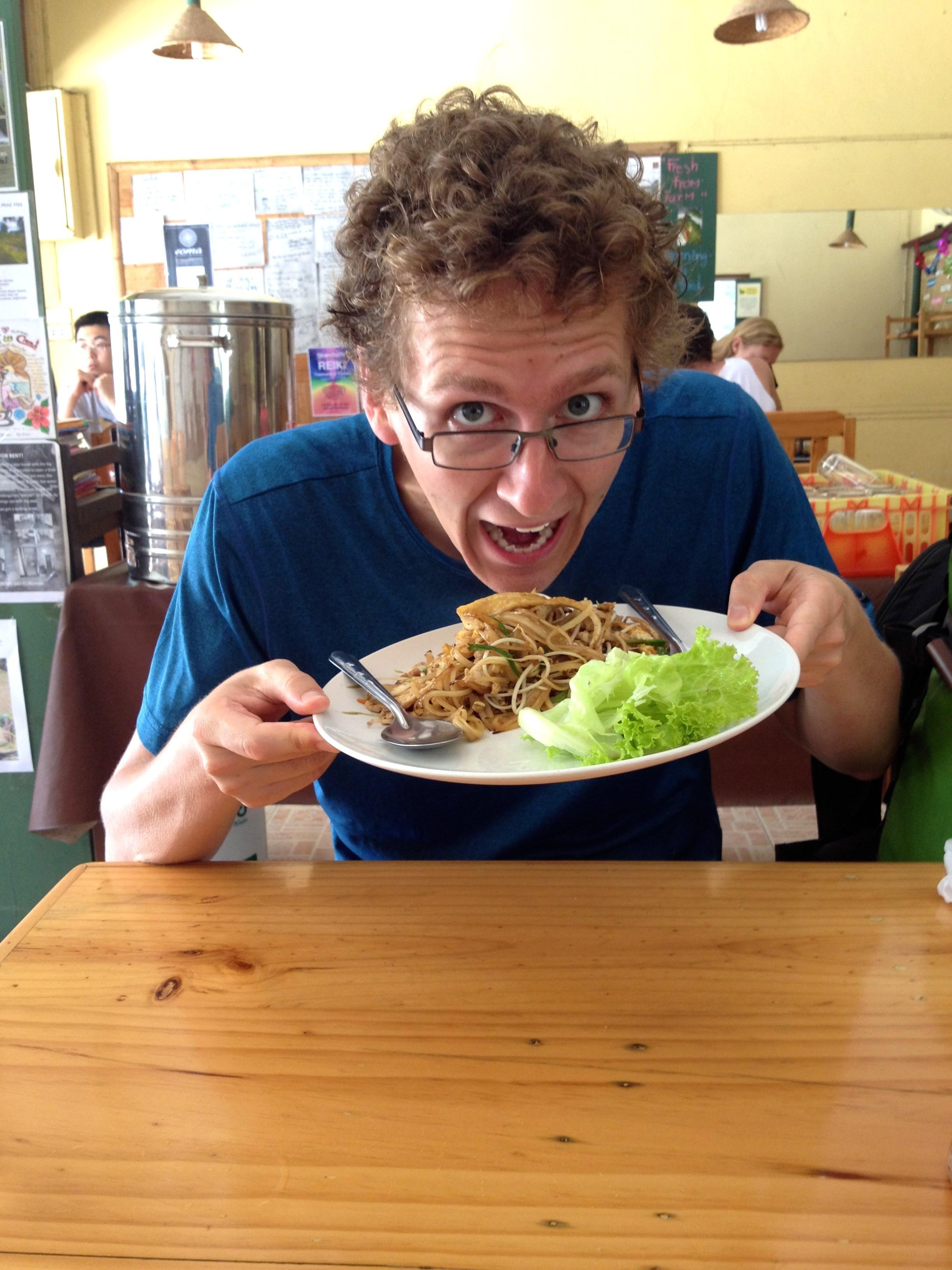 Green Papaya Pad Thai at Charlie & Lek's. Kevin is bursting with ...