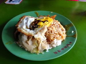 Curry Rice, Cabbage, Chicken and a Fried Egg