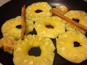 Step 1: Cook up those Pineapple rings
