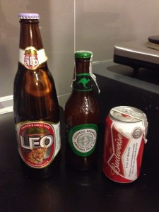 Leo beer from Thailand, Pale Ale from Australia, and Budweiser from the USA.