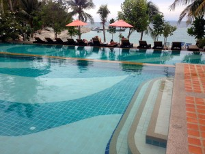 The Salad Buri Resort pool we snuck into!