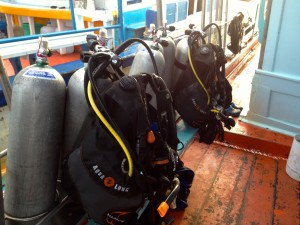 Our Dive Gear Onboard the Roctopus Boat