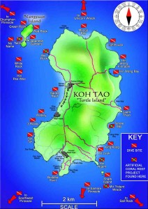 Koh Tao Dive Map