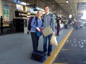 Kevin and I at Seatac Airport in April, leaving for our big adventure.