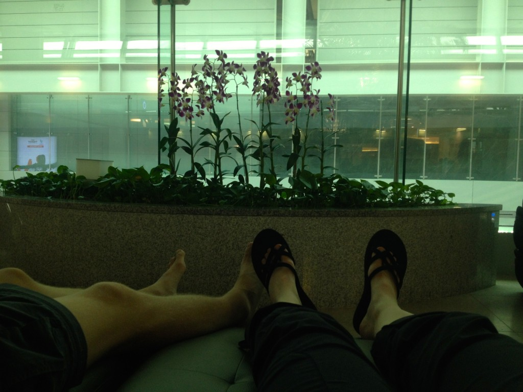 Napping at ICN Airport, surrounded by Orchids.