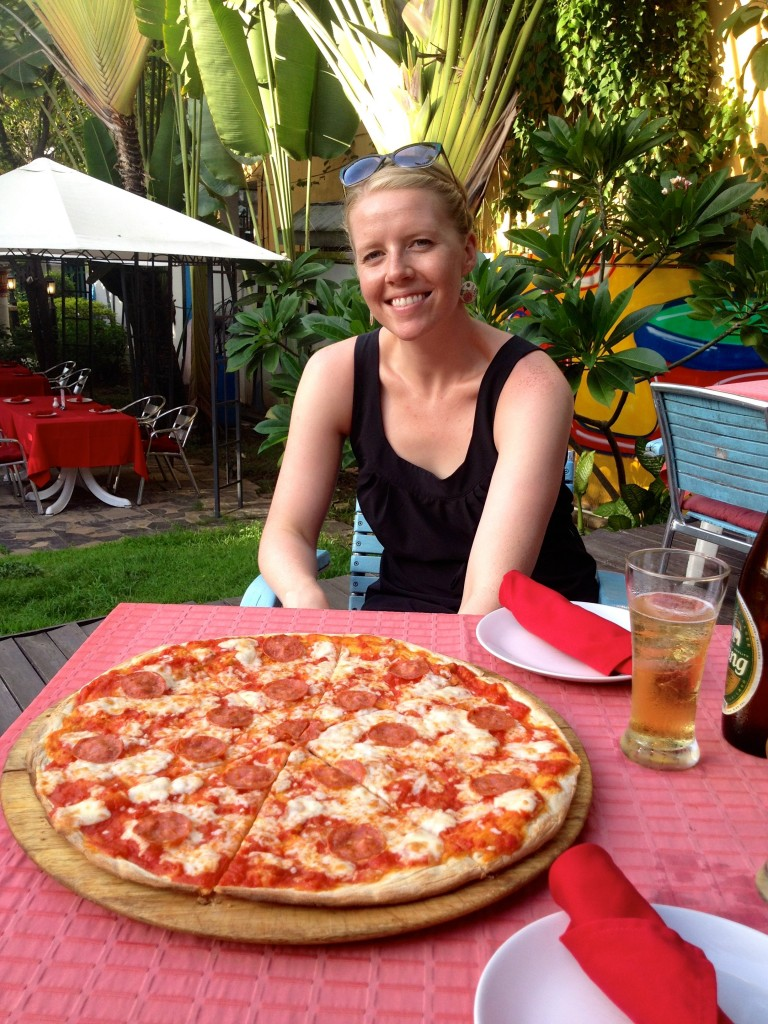 CHECK OUT THE SIZE OF THIS PIZZA.  Large Pepperoni Pizza and Large Chang Beer runs about 400 Baht