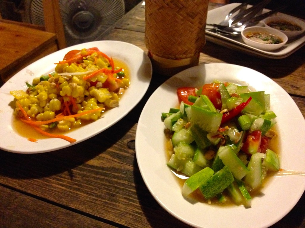 Left: Tam Khao Pod or Corn Som Tam (40 Baht) and Right: Tam Pol La Mai or Cucumber Som Tam (50 Baht)