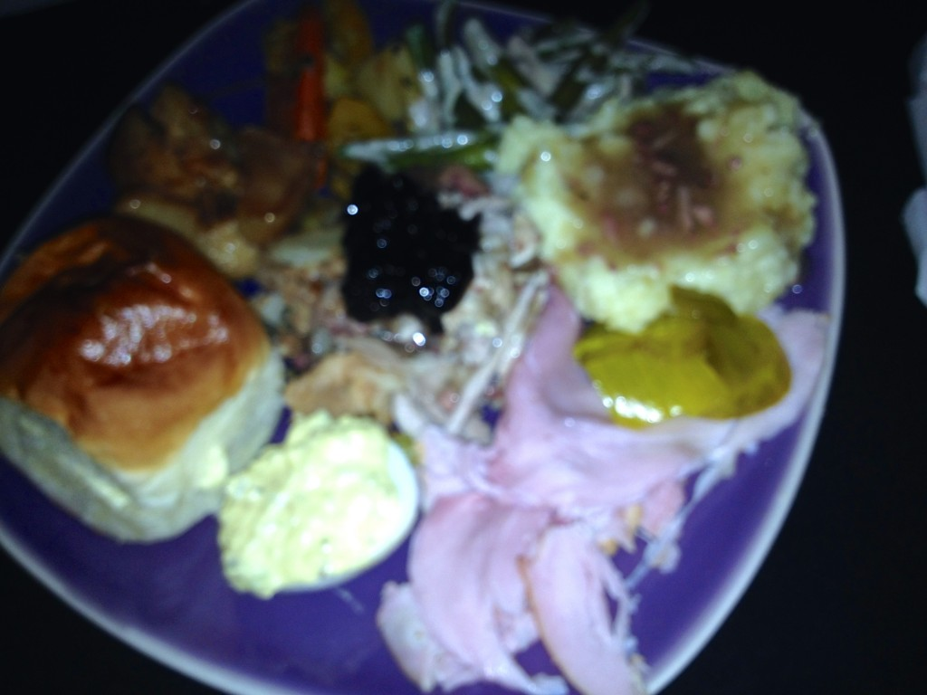 An Awful, Blurry Photo of our Delicious Thanksgiving Dinner