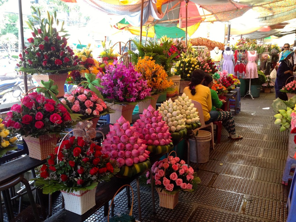 Beautiful Flowers at the Central Market in Phnom Penh.