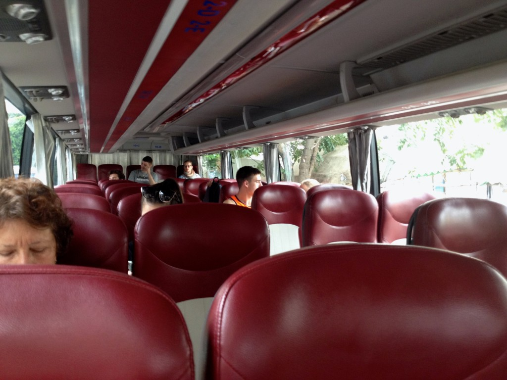 The Inside of our Giant Ibis Bus.