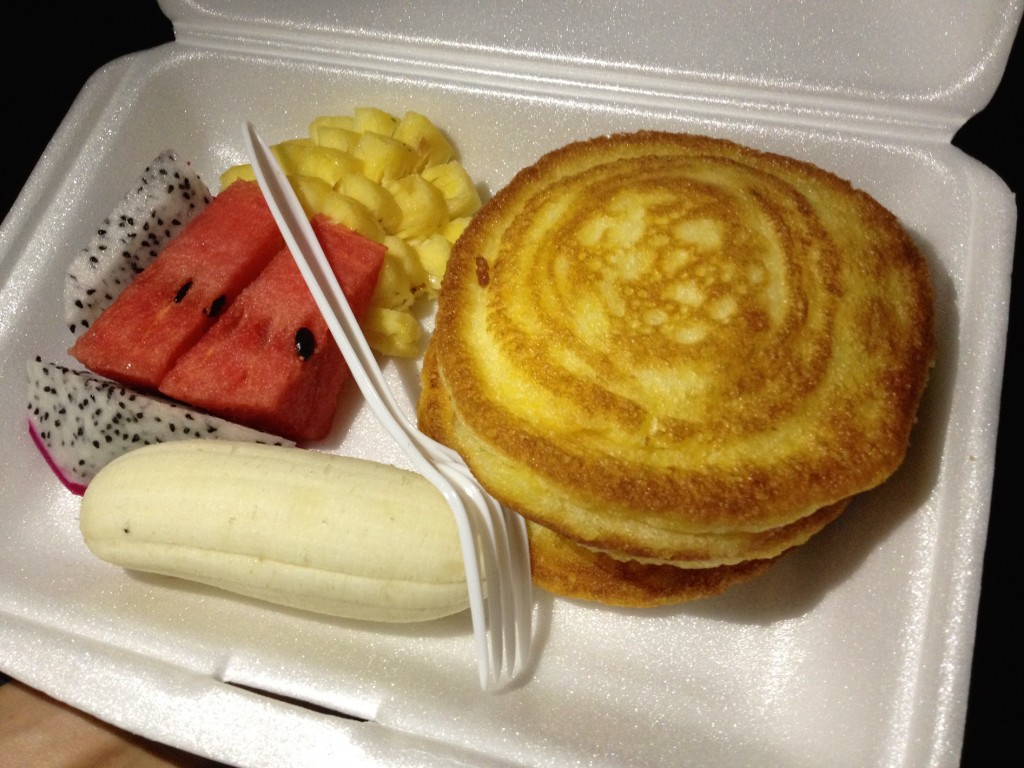 My To-Go Breakfast of Pancakes and Fruit! YUM.