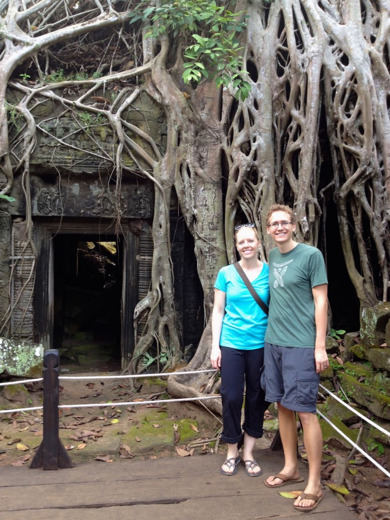 Ta Prohm is the temple where part of Tomb Raider was filmed. Here we are, in front of the tree that was shown in the movie!
