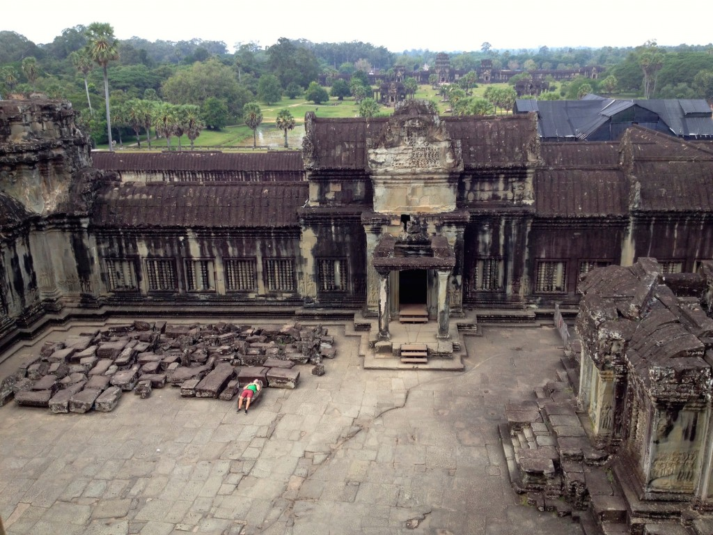 The view from the top of Angkor Wat. Someone is napping in this photo - can you find him?
