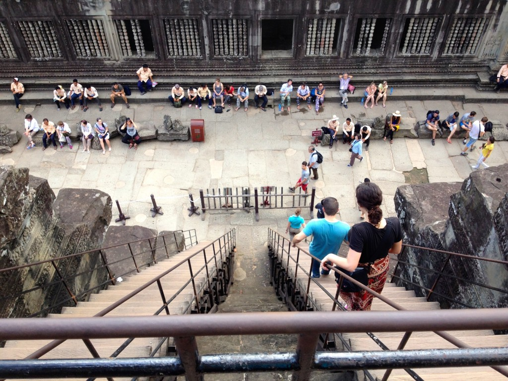 The stairs to climb to the top of Angkor Wat. They open at 7:30am, and close sometime in the afternoon. Worth the climb!
