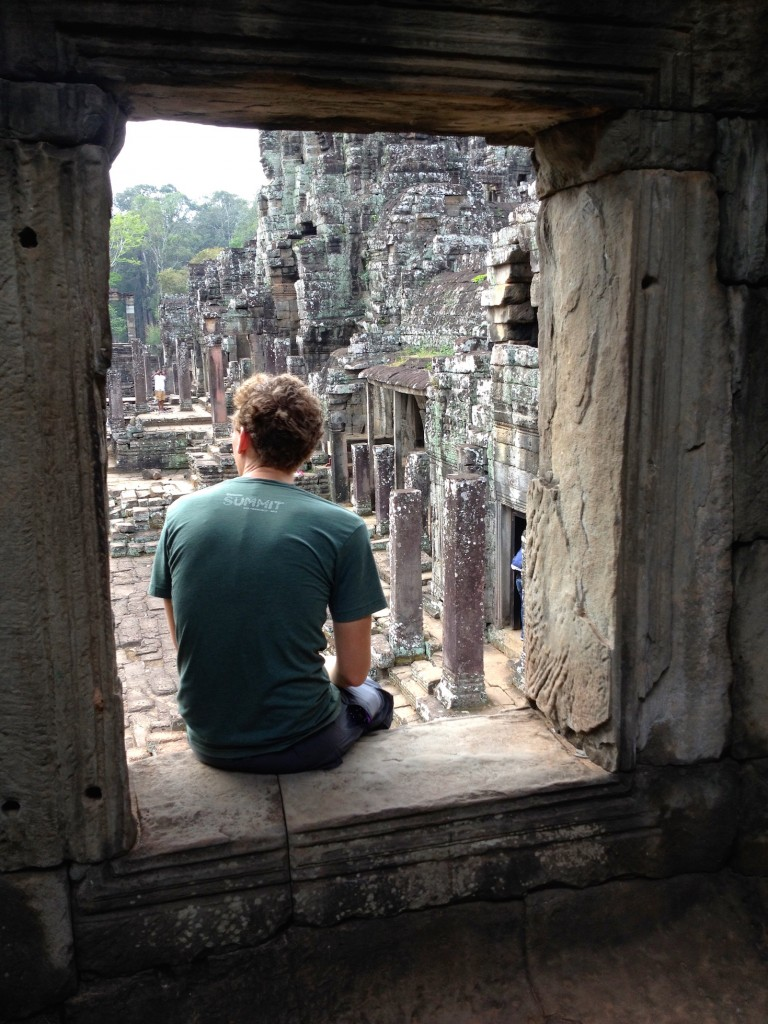 At Bayon Temple, you can climb to the top of the library in the Northeast corner to get a good view of it all.