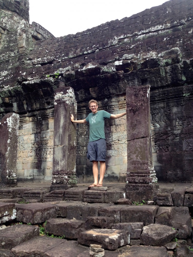And here's Kevin, knocking down pillars at Bayon. (JUST KIDDING!)