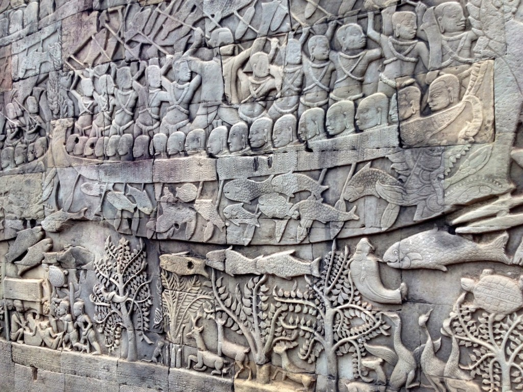 Bayon has some of the most intricate carvings we saw, and they all tell a story about history. If you visit, grab a copy of Lonely Planet Cambodia for your Kindle so you can read all about the bas reliefs!