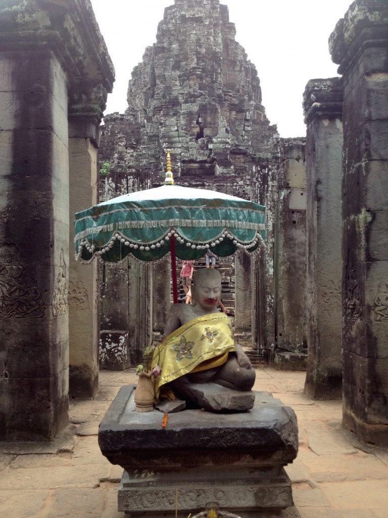 This is at Bayon. I'm not sure why, but there is a LOT of lipstick on this statue. I'm not sure if someone put it there on purpose, or if women wearing red lipstick kiss the statue. Either way, I chuckled.