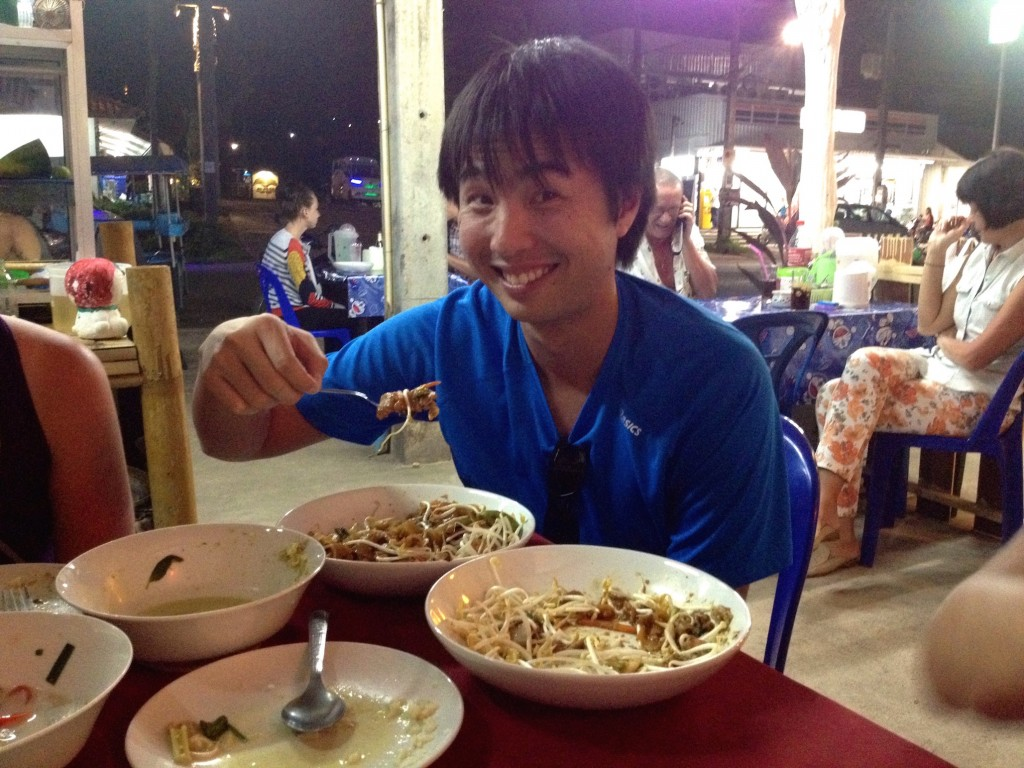 Here's Albert, Enjoying the Best Food in Koh Lanta.
