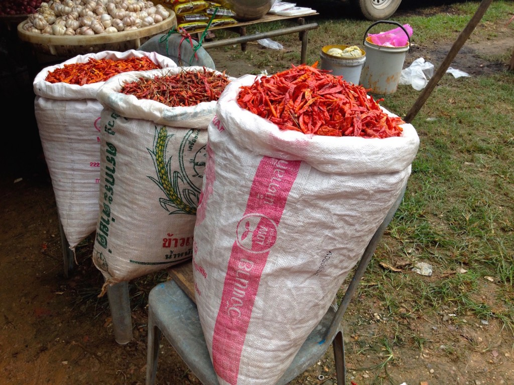 Big Bags of Chilis at the Local Market