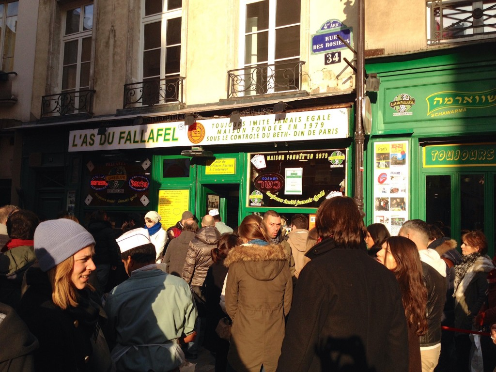 We stood in a crazy line to get food from L'As du Falafel, which translates to The Ace of Falafel.