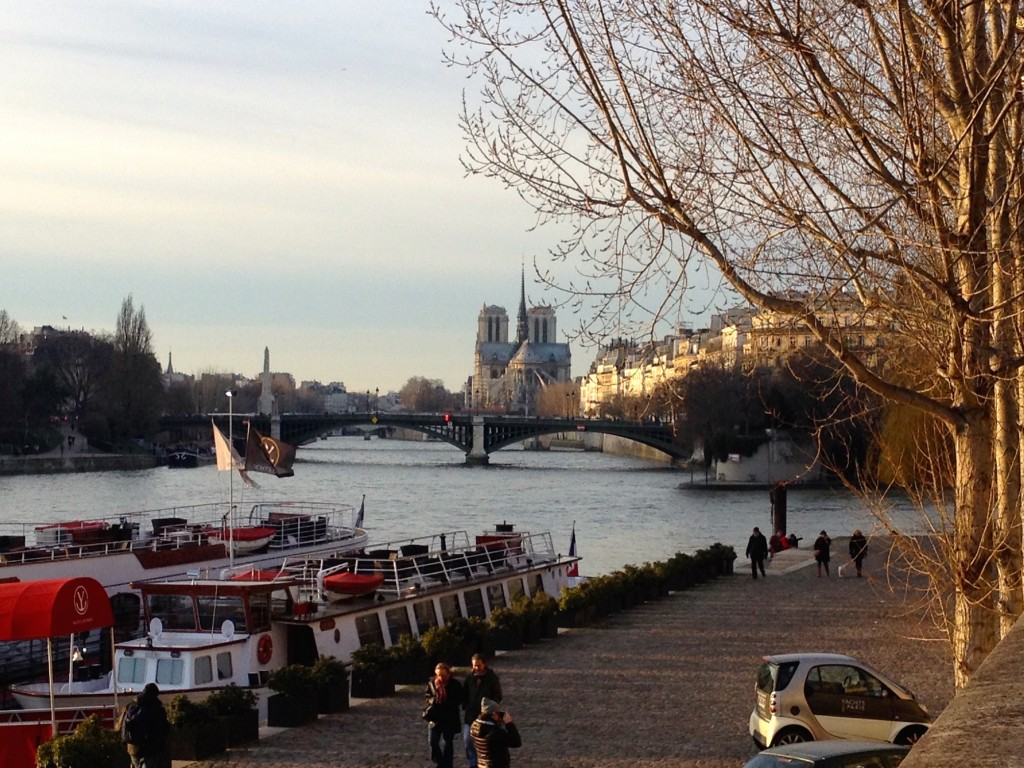 A fun view of Notre Dame from jus down the Seine River.