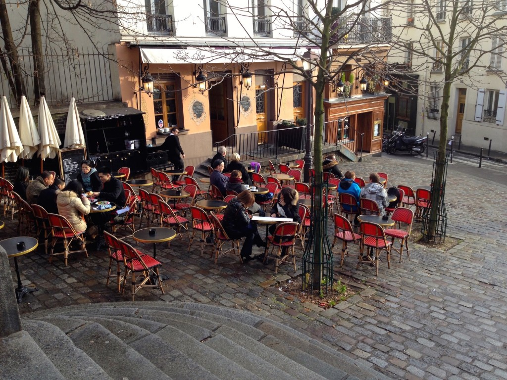 One thing I love about Paris? Even though it's winter, people still eat outside in the sunshine.