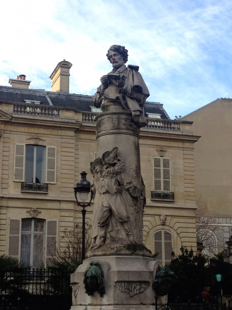 Someone put a clown nose on this statue in Montmartre!