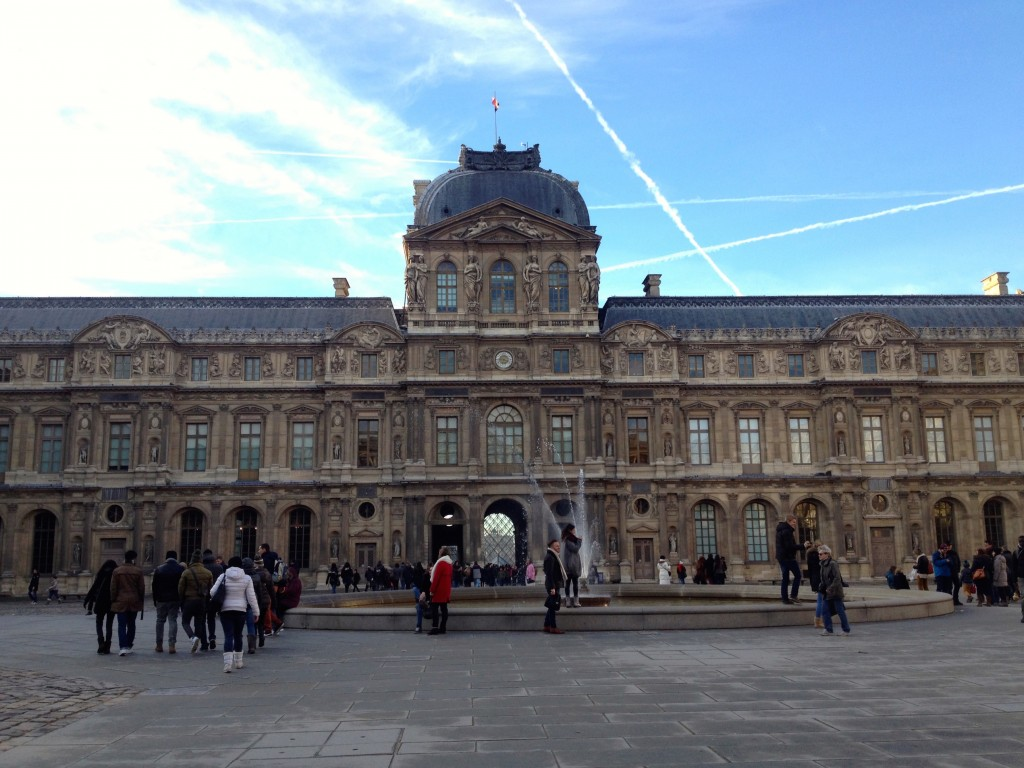 A plaza at the Louvre.