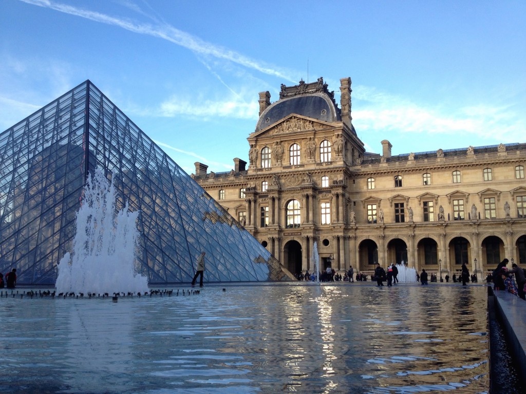 And here is Kevin walking on water at the Louvre.