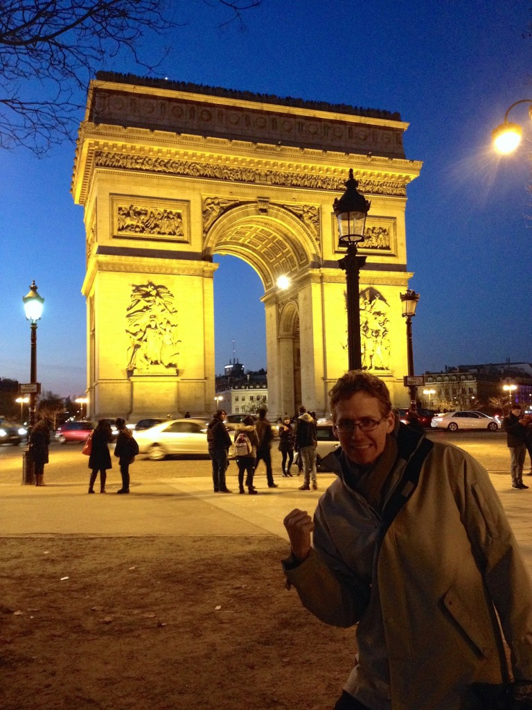 Here's Kevin making his triumphant pose at the Arch of Triumph.