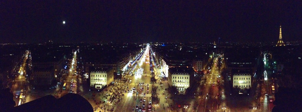 The night view from the top of L'Arc de Triomphe.