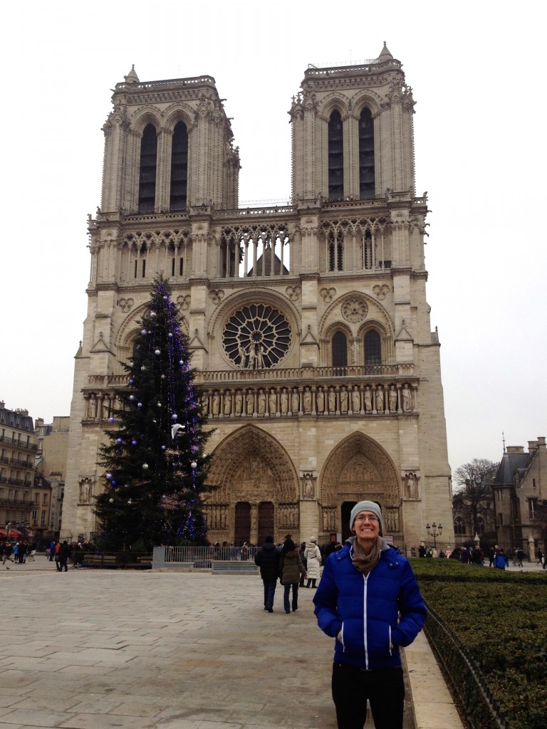 Kevin dressed in colors to match the Notre Dame Christmas Tree.