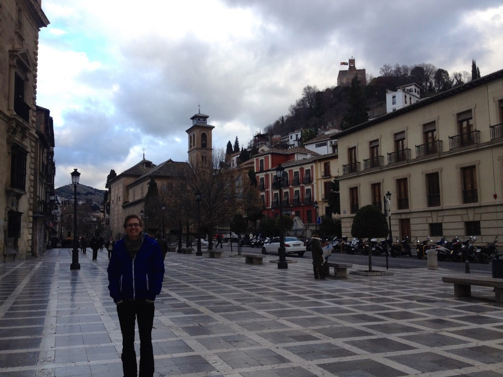 Here's Kevin in Plaza Nueva, the hub of tourist activities in Granada.