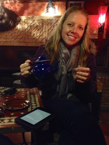 Enjoying our Indian tea at the French-owned Moorish-themed tea shop in Spain