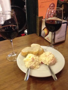 We got red wine our first visit, which came with a free tapa of egg salad with bread. (Warning: once you order food, your free tapas will stop! Stick to drinks at first!)