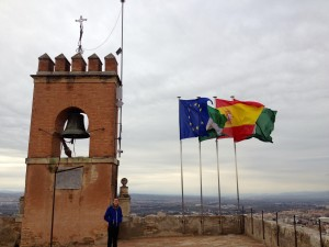 Four Flags! Blue is for the E.U., green and white for Andalucia, red and yellow for Spain, and red and green for Granada.