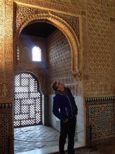 Kevin's checking out the ceiling in the Sultan's throne room.