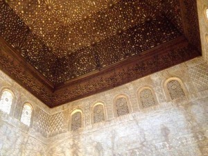 The elaborate ceiling in the Grand Hall of the Ambassadors, which was the Sultan's throne room.