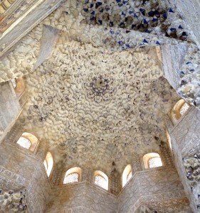 Beautiful elaborate ceiling in the Hall of the Abencerrajes. It is based on the eight-sided Muslim star.