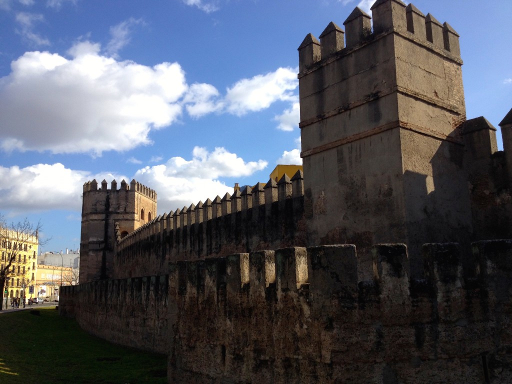A remaining Part of Sevilla's old fortified wall. Medieval ruins are a daily part of life in Europe.