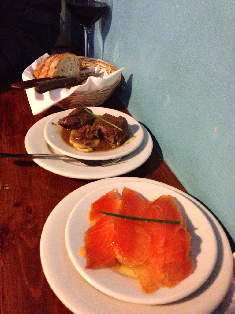 Carrillada (tender braised pork) and Salmon Ahumado con salmorejo (smoked salmon on toast with tomato puree)