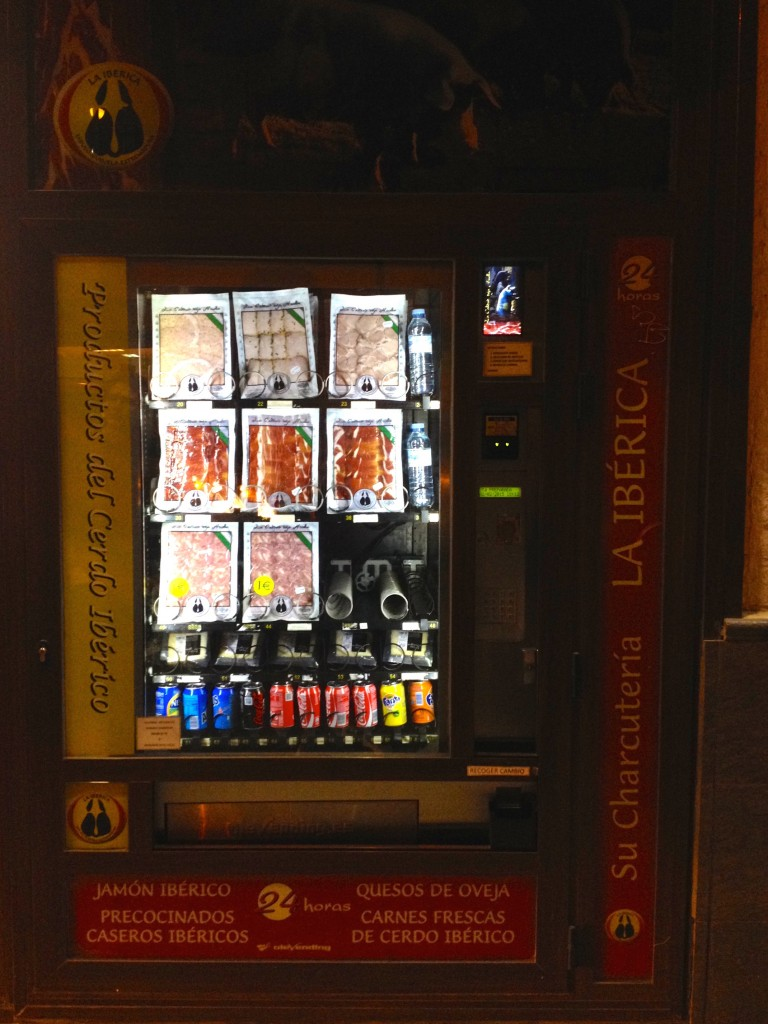 There are even cured meat VENDING MACHINES on the streets here!