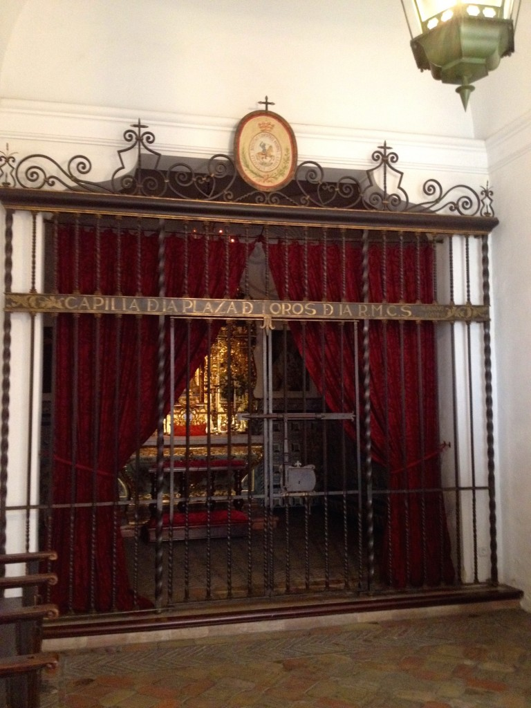 The Bullring's Chapel, where bullfighters and their crew members say their prayers before they enter the ring.
