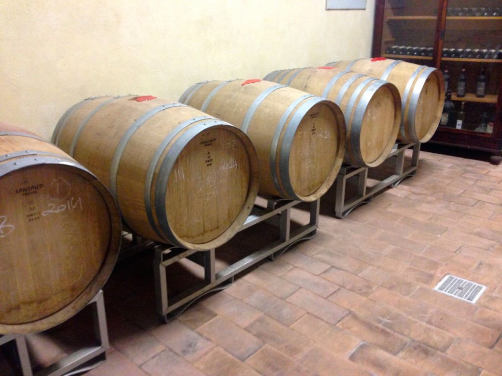 Kevin was pining over these wooden barrels because of his beer brewing passion.