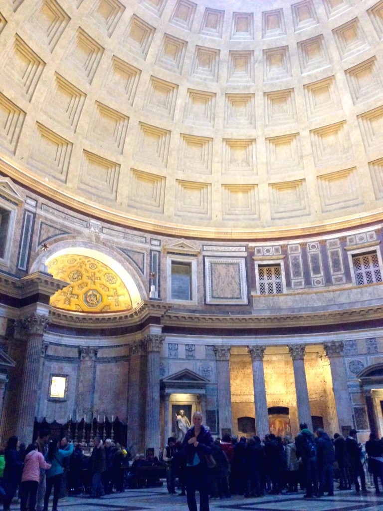 The Pantheon's Impressive Dome is made of concrete, which the Romans invented. It gets lighter and thinner towards the top. At the base, the dome is 23 feet thick, but the top is less than five feet thick and made with a lighter-weight concrete.