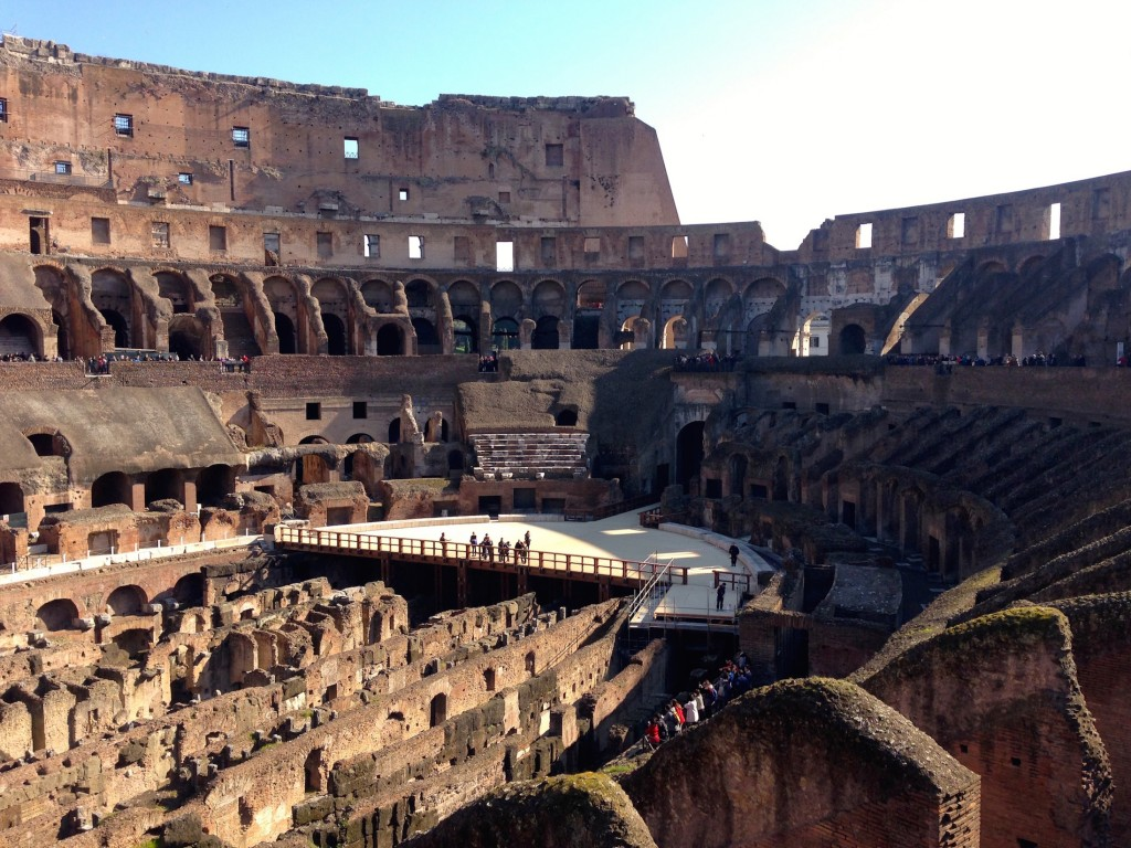 The Colosseum, where killing is a spectator sport. In this photo, you can see the underground passages where animals, prisoners, and gladiators moved around. It was covered with a wooden floor and sand when the Colosseum was actually in use.
