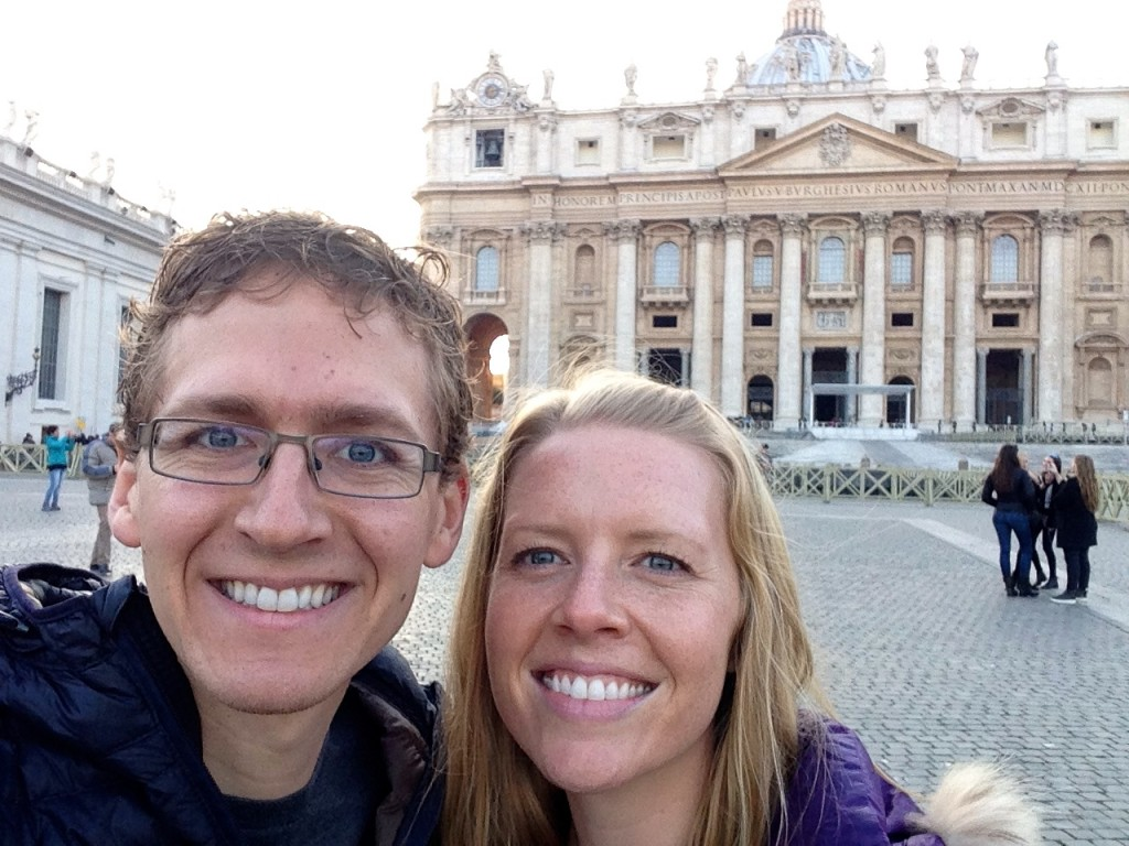 Kevin and I in front of St. Peter's Basilica in the Vatican