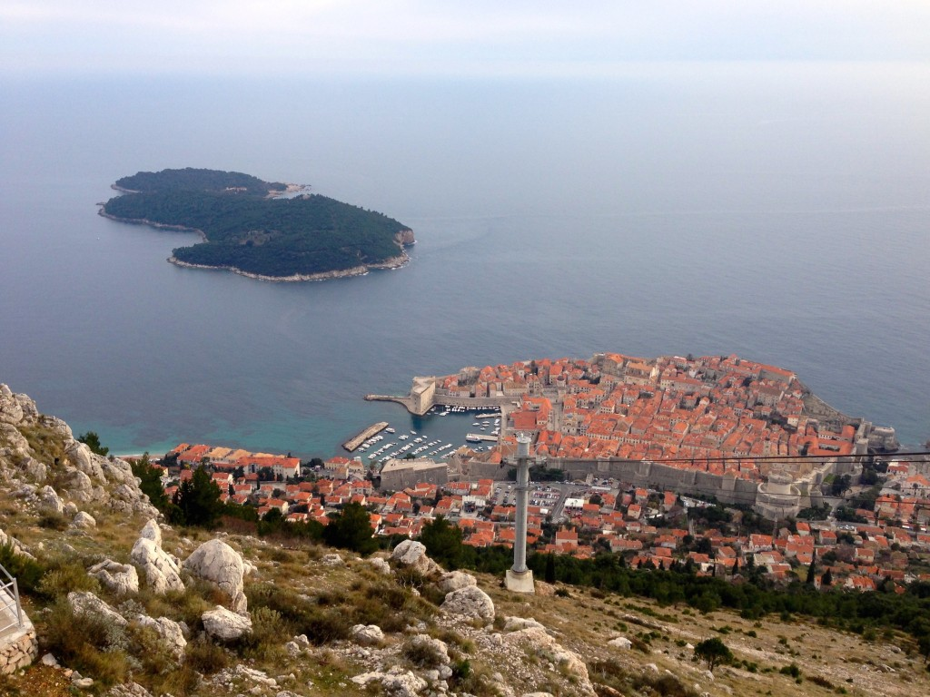 The view of Dubrovnik's walled Old City from Mount Srd.
